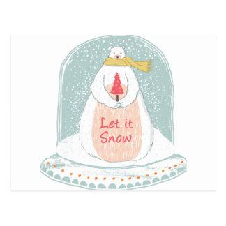 Cartão Postal Deixais lhe para nevar Natal bonito