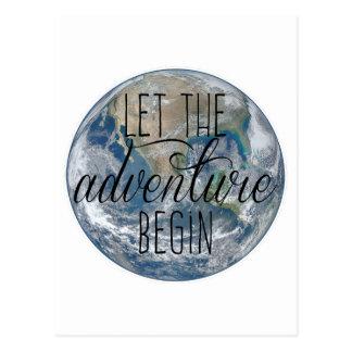 Cartão Postal Deixe a aventura começar a caneca, citações