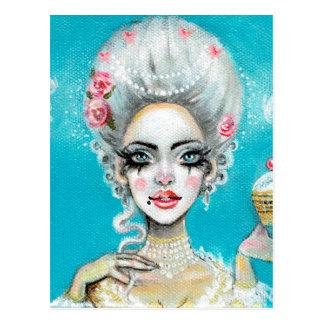 Cartão Postal Deixe-os comer cupcake de Marie Antoinette do bolo