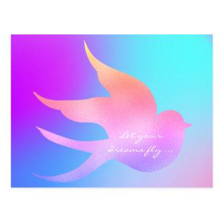 Cartão Postal Deixe seu pássaro azul cor-de-rosa inspirador da