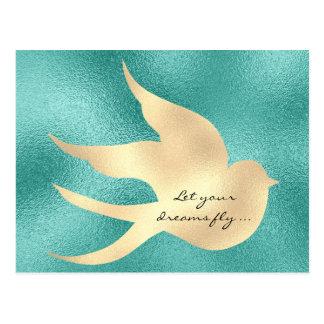Cartão Postal Deixe seu pássaro inspirador do verde da hortelã