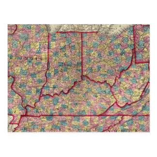 Cartão Postal Delaware, Illinois, Indiana, e Iowa
