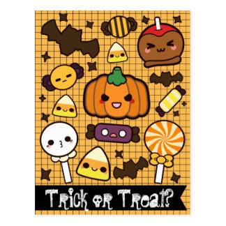 Cartão Postal Deleites dos doces do Dia das Bruxas
