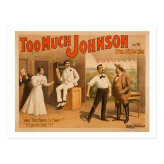 """Cartão Postal """"Demasiado Johnson"""" - dois homens que lutam o"""