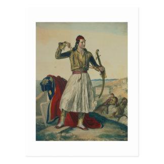 Cartão Postal Demetrius Mavromichalis, um soldado grego e patri