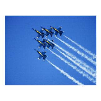 Cartão Postal Demonstração aérea dos anjos azuis durante uma