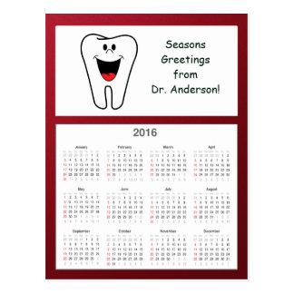 Cartão Postal Dente boas festas do calendário do dentista 2016