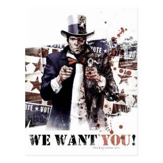 Cartão Postal Dente de Harvey - nós queremo-lo!