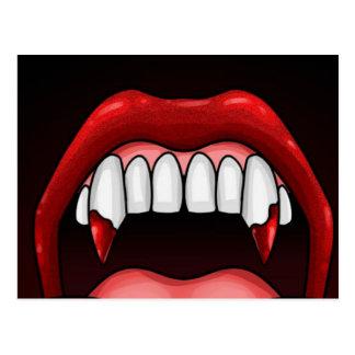 Cartão Postal Dentes do Dia das Bruxas do vampiro