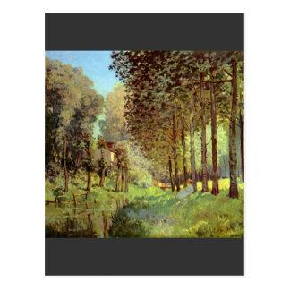 Cartão Postal Descanso no banco de rio por Alfred Sisley
