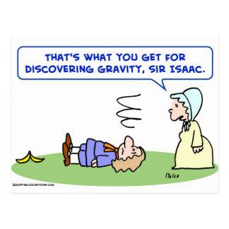Cartão Postal descoberta da gravidade do senhor Isaac Newton da
