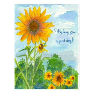 Cartão Postal Desejando lhe girassóis de uma aguarela do bom dia