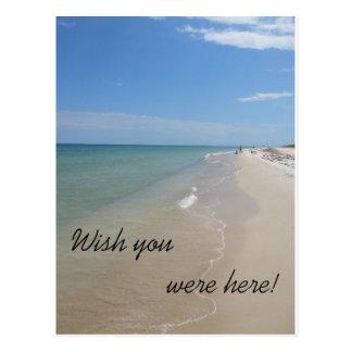 Cartão Postal Desejo você estava aqui cena da praia