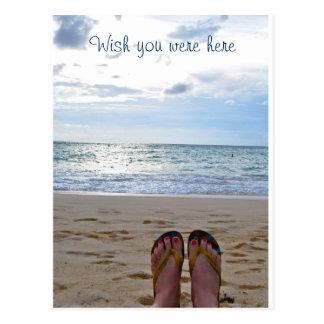 Cartão Postal Desejo você estava aqui praia