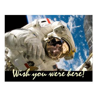 Cartão Postal Desejo você estava aqui viagem espacial do