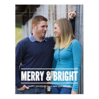 Cartão Postal Desejos alegres e brilhantes do feriado do Natal