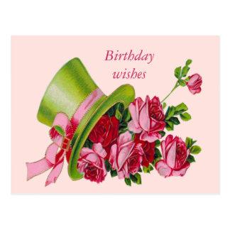 Cartão Postal Desejos, chapéu alto e rosas do aniversário