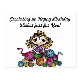Cartão Postal Desejos Crocheting do aniversário