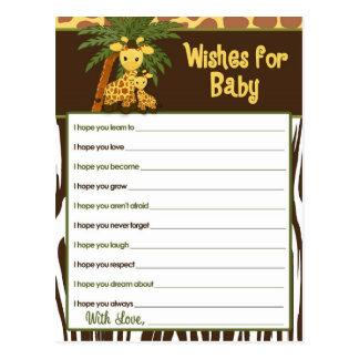 Cartão Postal Desejos do bebê & das mamães do girafa para