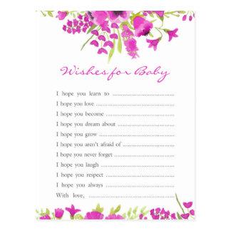 Cartão Postal Desejos florais do roxo para o bebê