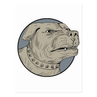 Cartão Postal Desenho agressivo da cabeça de cão da guarda de