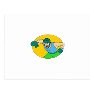Cartão Postal Desenho amador do perfurador de KO do pugilista