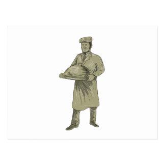 Cartão Postal Desenho da bandeja da comida do serviço do garçom