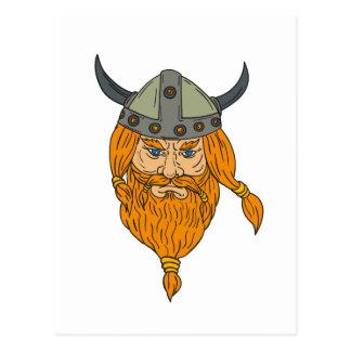 Cartão Postal Desenho da cabeça do guerreiro de Viking do
