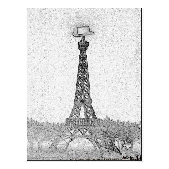 Cartão Postal Desenho da torre Eiffel de Paris, Texas
