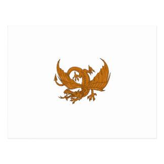 Cartão Postal Desenho de agachamento do dragão agressivo