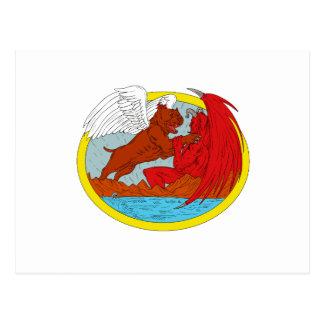 Cartão Postal Desenho de combate da satã do cão americano da