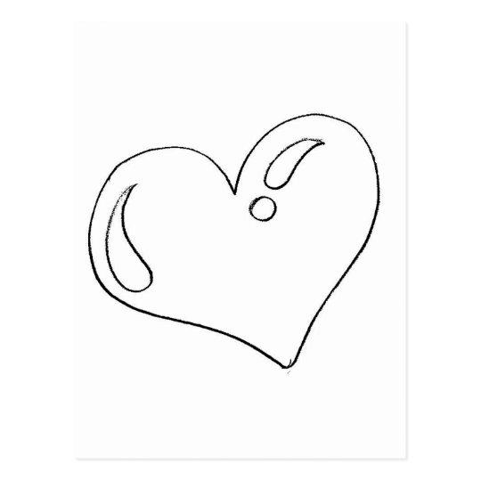 Cartão Postal Desenho De Coração Para Imprimir E Pintar