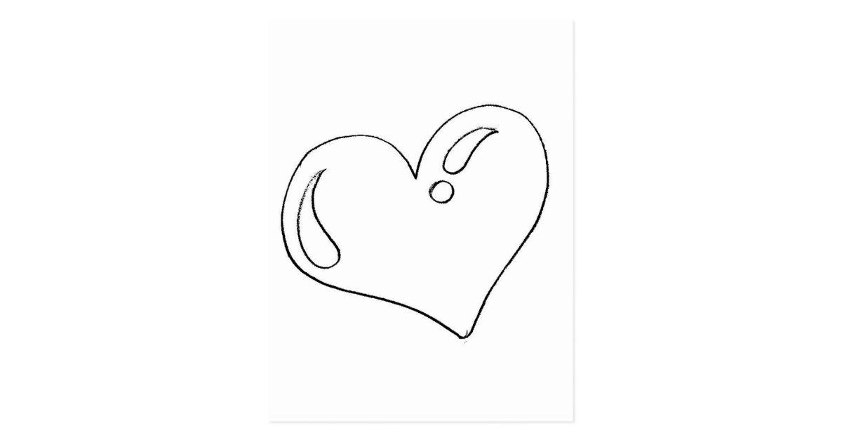 Desenho De Coracao Grande Para Imprimir: Cartão Postal Desenho De Coração Para Imprimir E Pintar