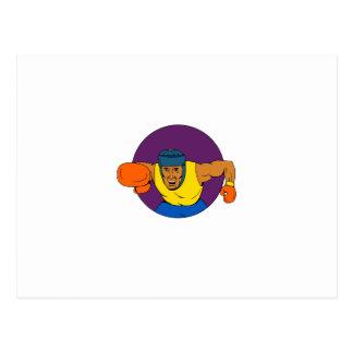 Cartão Postal Desenho de perfuração do círculo do pugilista