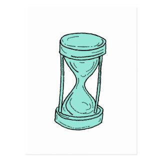 Cartão Postal Desenho de vidro da hora do vintage