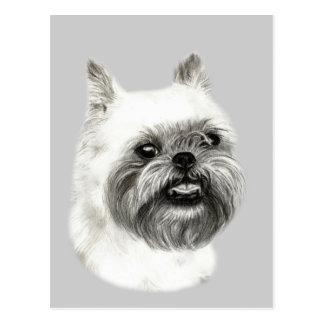 Cartão Postal Desenho do cão de Bruxelas Griffon