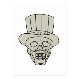 Cartão Postal Desenho do crânio do chapéu alto do tio Sam