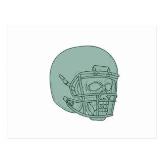 Cartão Postal Desenho do crânio do estratego do futebol