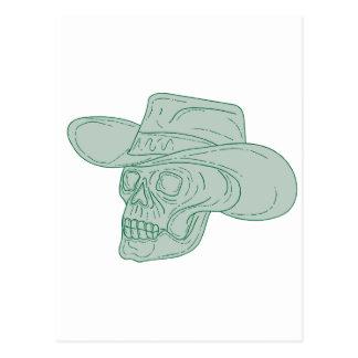 Cartão Postal Desenho do crânio do vaqueiro