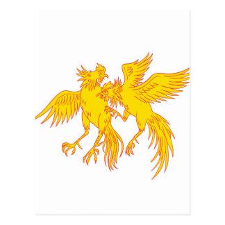 Cartão Postal Desenho do galo novo dos galos do Cockfighting