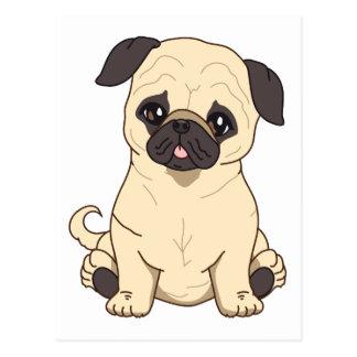 Cartão Postal Desenho do Pug por edição limitada de Pablo