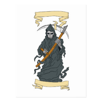 Cartão Postal Desenho do rolo do Scythe do Ceifador