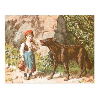 Cartão Postal Desenho do vintage: Capa de equitação vermelha e o