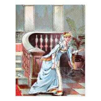 Cartão Postal Desenho do vintage: Cinderella e o deslizador de