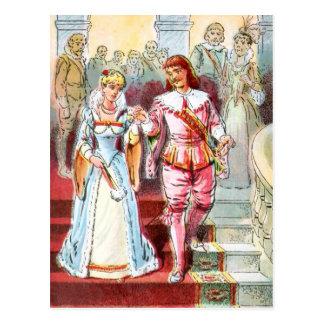 Cartão Postal Desenho do vintage: Cinderella e o príncipe
