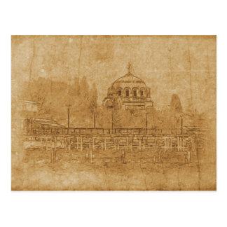 Cartão Postal Desenho do vintage da catedral