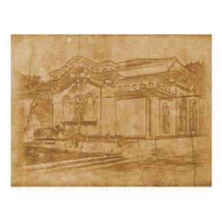 Cartão Postal Desenho do vintage da construção