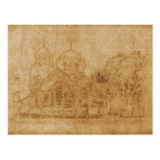 Cartão Postal Desenho do vintage da igreja