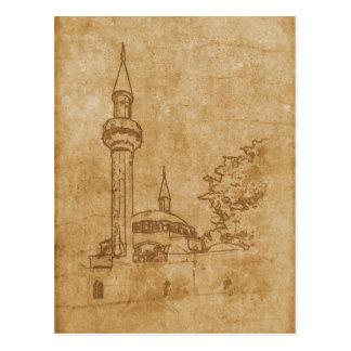 Cartão Postal Desenho do vintage da mesquita de Juma-Jami