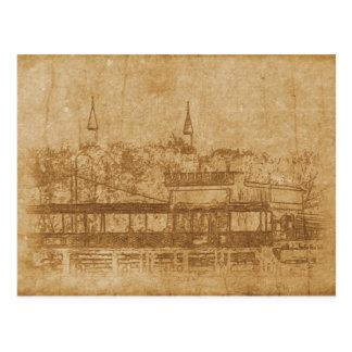 Cartão Postal Desenho do vintage do minarete